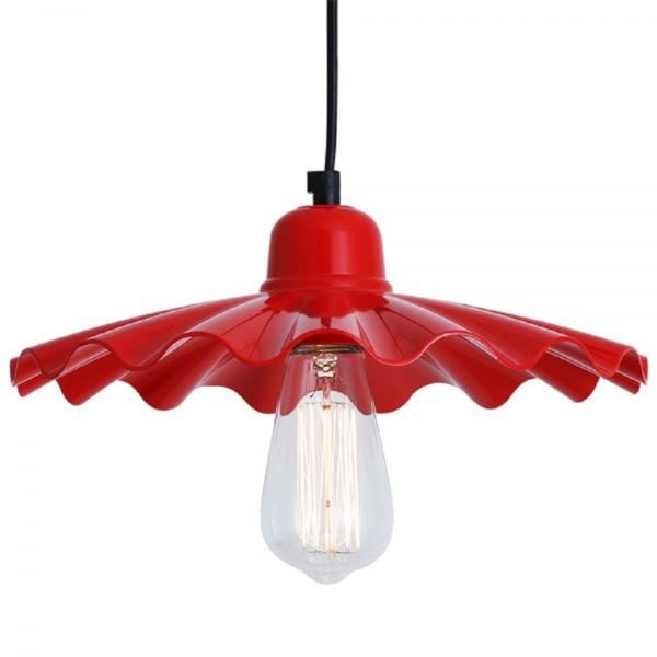 Retro Style Fluted Red Ceiling Pendant Light For Over