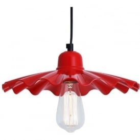 ARDLE fluted red metal ceiling pendant light