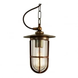 ASMARA industrial style clear well glass ceiling pendant - antique brass fitting