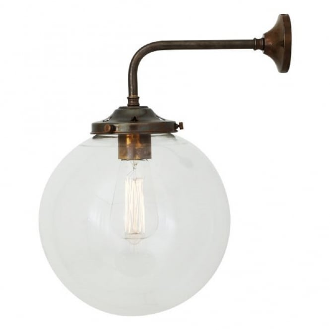 Antique Brass Wall Light Fitting With Clear Glass Globe Shade