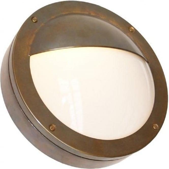 Ip44 Garden Wall Light Circular Antique Brass Frame Opal