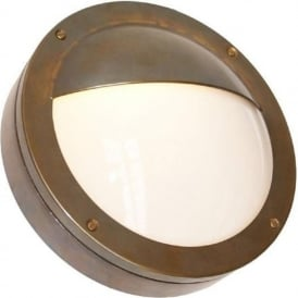 BEGAWAN circular flush fitting IP54 outdoor wall light - antique brass