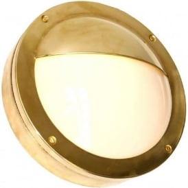 BEGAWAN circular flush fitting IP54 outdoor wall light - satin brass