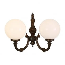 BEN traditional double globe wall light on antique brass fitting
