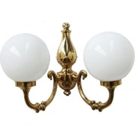 BEN traditional double globe wall light on gold polished brass fitting