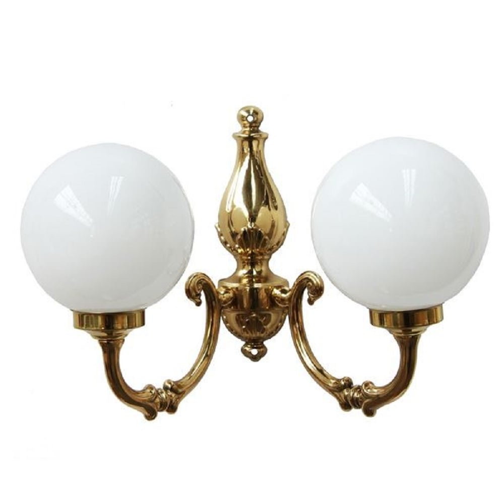 Double Victorian Style Wall Light In Gold Brass With Opal Globe Shades