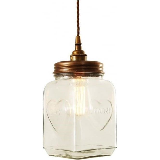 Unusual Quirky Glass Biscuit Cookie Jar Ceiling Pendant Light