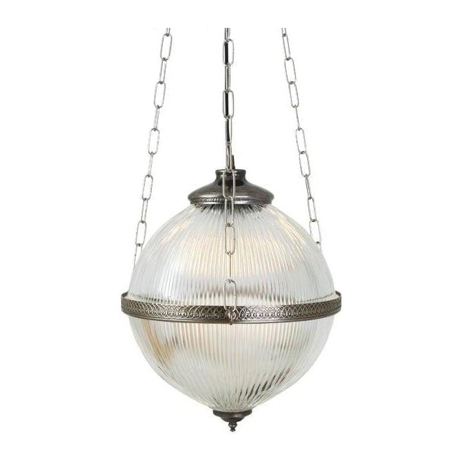 Ribbed Glass Globe Victorian Hall Lantern On Antique