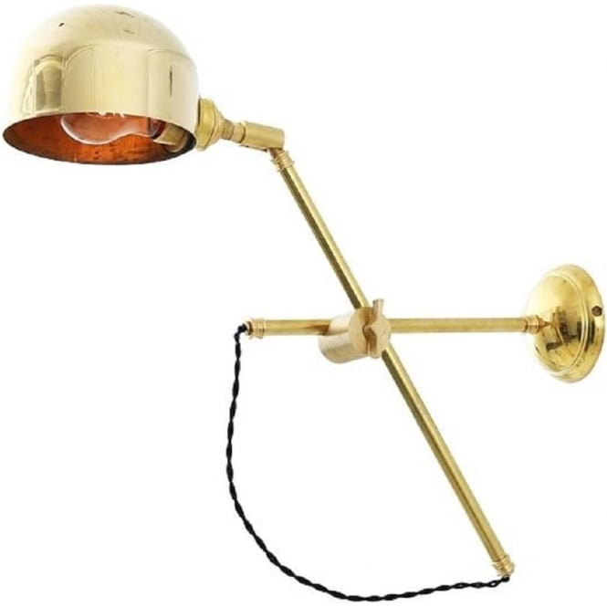 Satin Brass Vintage Style Swing Arm Wall Light With Reflector Shade