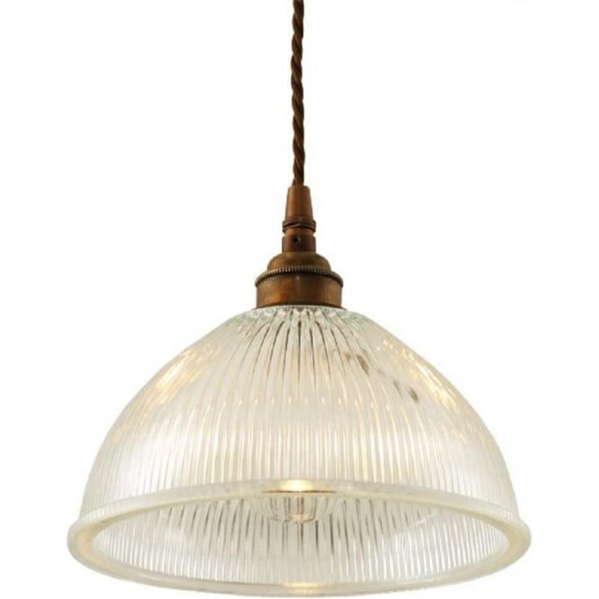 Vintage Industrial Glass Pendant Light: Domed Halophane Glass Ceiling Pendant Light On Antique