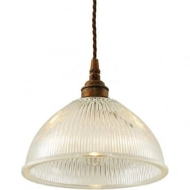 BOSTON industrial halophane glass pendant on antique brass fitting