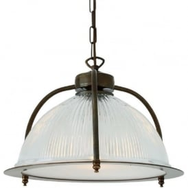 BOUSTA halophane glass ceiling pendant with diffuser and antique brass cage
