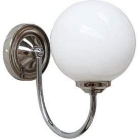 BRAGAN opal glass globe wall light on polished chrome fitting