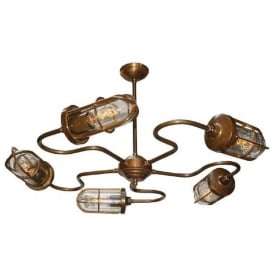 BRECK industrial design 5 arm ceiling light in antique brass with clear well glass shades