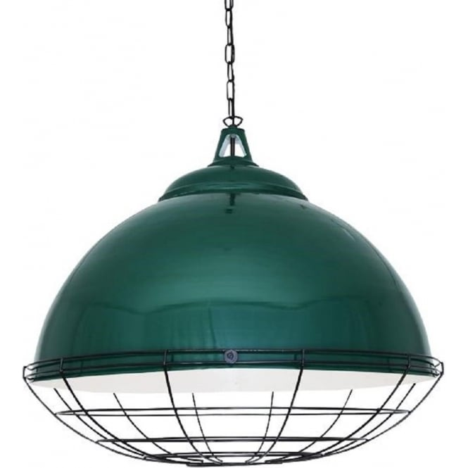 Oversized Industrial Retro Ceiling Pendant In Racing Green
