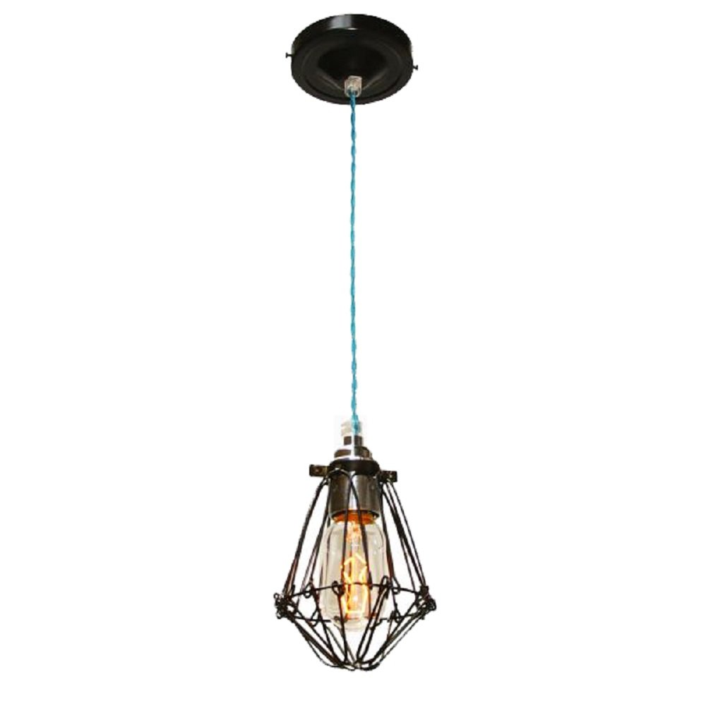 monaghan lighting cage black industrial pendant light on light blue
