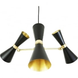 CAIRO contemporary black and gold LED 3 arm hanging ceiling light