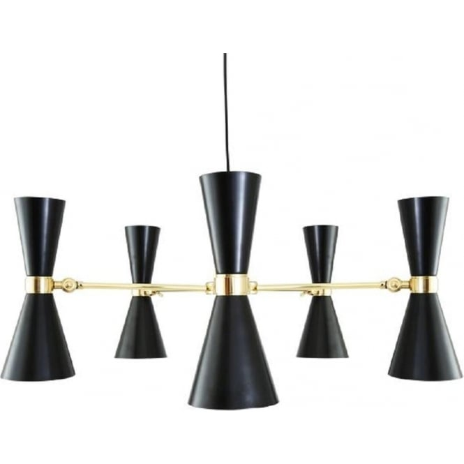 Modern 5 arm black and gold ceiling light in 1950s mid century styling cairo contemporary black and gold led 5 arm hanging ceiling light aloadofball Image collections