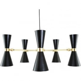CAIRO contemporary black and gold LED 5 arm hanging ceiling light
