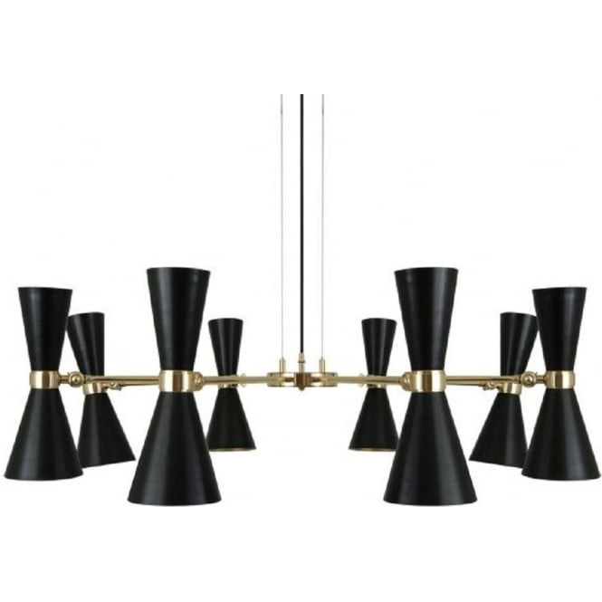 8 Light Mid Century Black And Gold Ceiling Light With