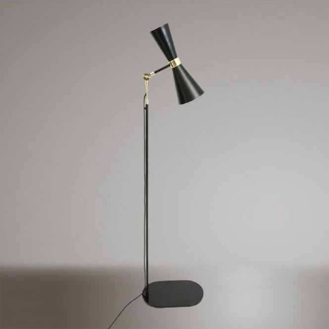 Black mid century floor lamp with gold detailing and adjustable head cairo contemporary black and gold led floor lamp aloadofball Images