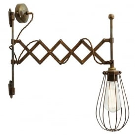 CALIS adjustable scissor action wall light with cage shade - antique brass