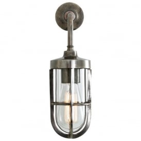 CARAC industrial or nautical style wall light in antique silver
