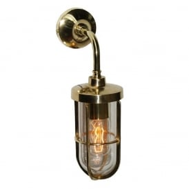CARAC industrial or nautical style wall light in polished brass