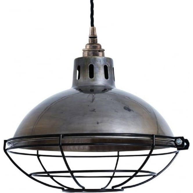 Rustic Factory Style Ceiling Pendant In Antique Silver