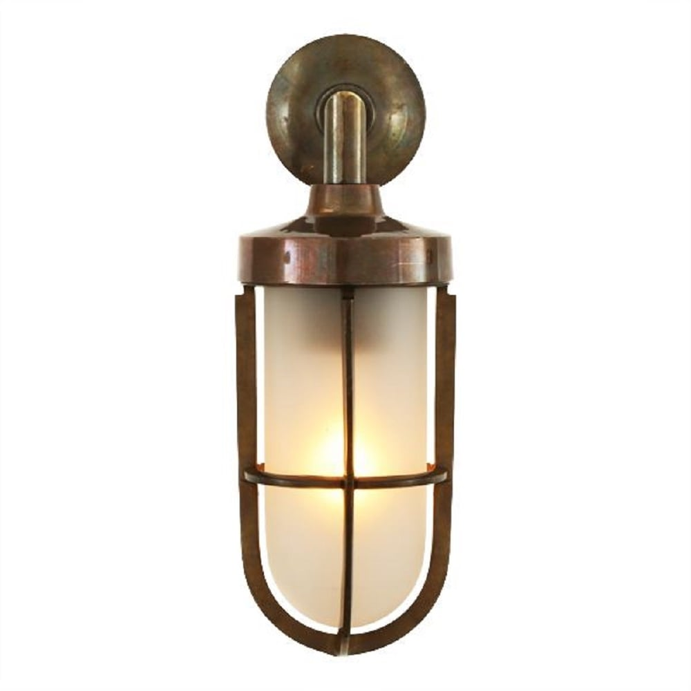 Nautical design solid antique brass wall light with for Industrial outdoor lighting