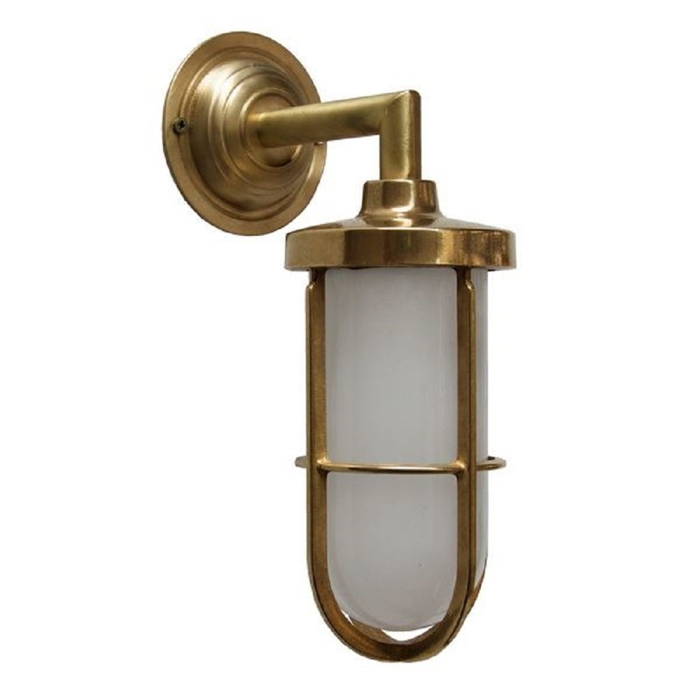 Indoor or outdoor nautical wall light in satin brass with for Industrial outdoor lighting