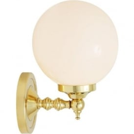 CLOGHAN single globe wall light on gold polished brass fitting