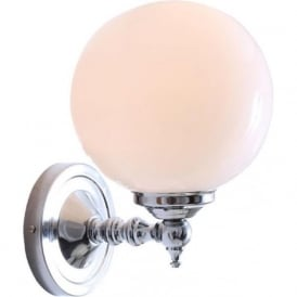 CLOGHAN single globe wall light on polished chrome fitting
