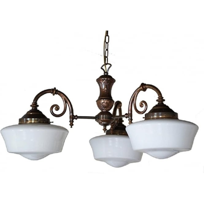 Art deco lighting authentic reproduction lights from 1920s 1930s clones school house 3 arm 1920s inspired ceiling pendant light aloadofball Gallery