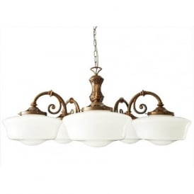 CLONES School House 5 arm 1920's inspired ceiling pendant light
