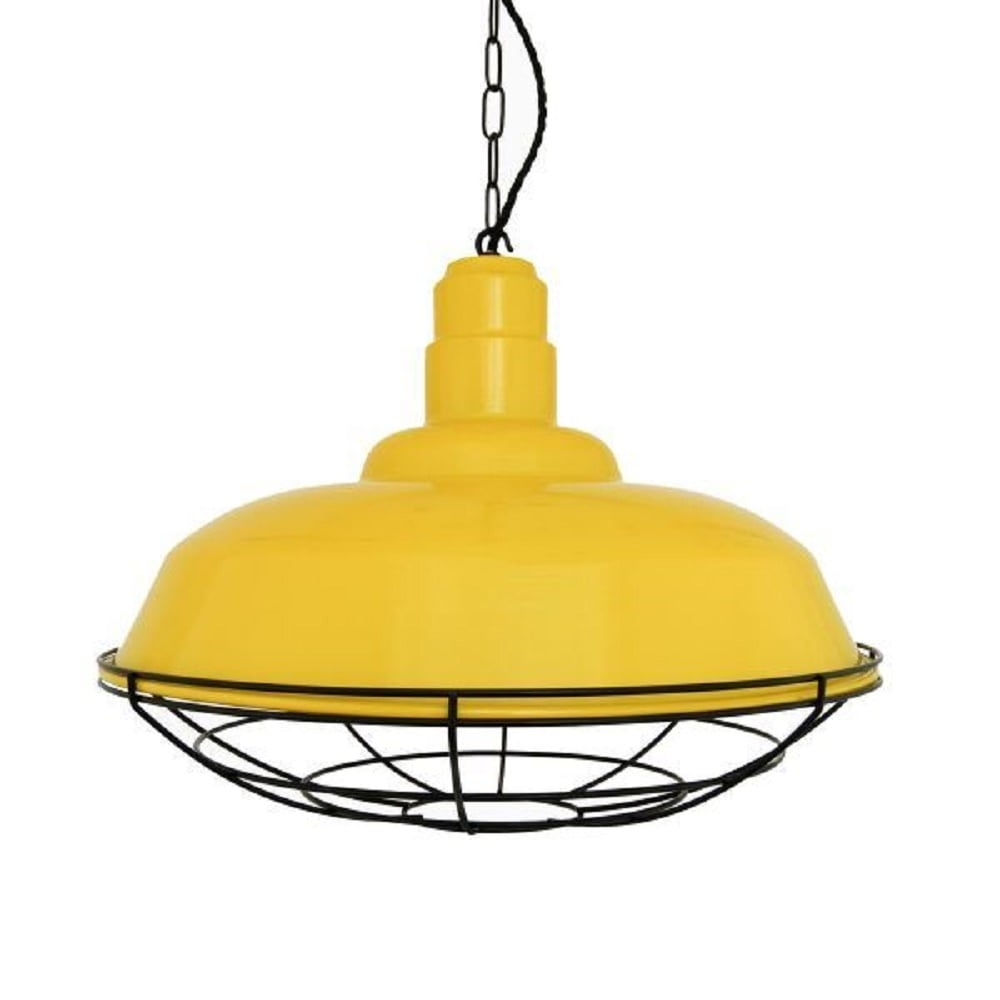 Yellow Metal Ceiling Pendant Light Shade, Industrial Style
