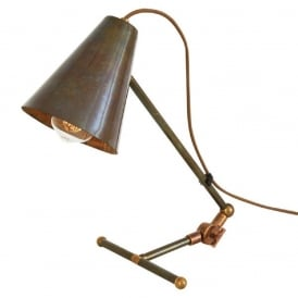 COMORO solid brass task lamp or desk light in antique finish