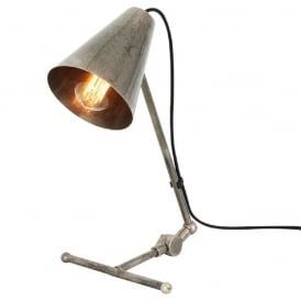 COMORO solid brass task lamp or desk light in antique silver finish