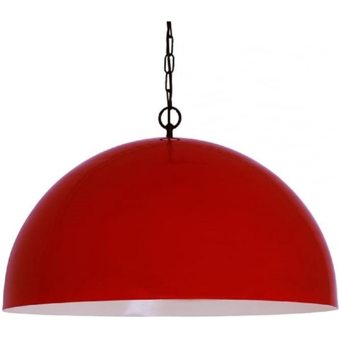 Large Red Ceiling Pendant Light Classic Dome Shaped Over Table Lights