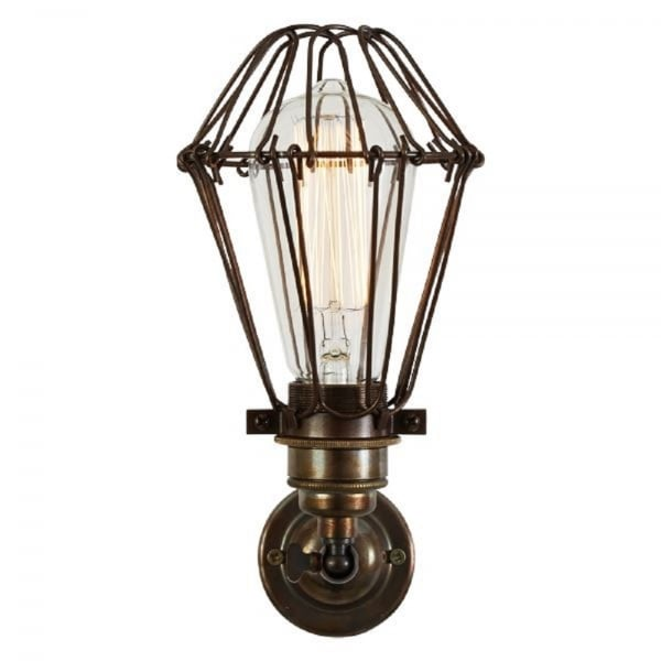 Utility Wall Light in Aged Bronze with Unique Cage Protecting the Bulb
