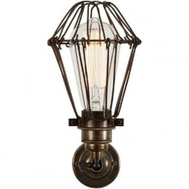 COTONOU industrial cage wall light in antique brass