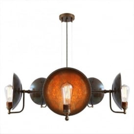 CULLEN industrial steampunk ceiling light with 5 reflector shades