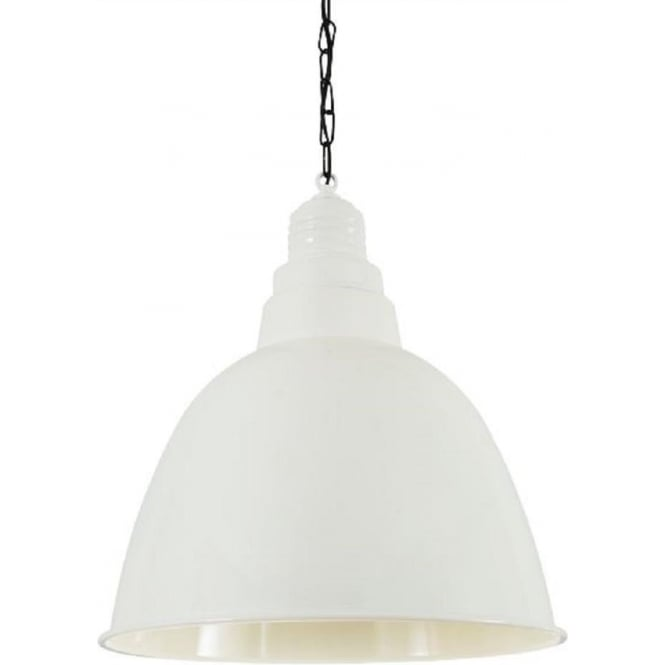 White Metal Overhead Hanging Pendant Light In Vintage