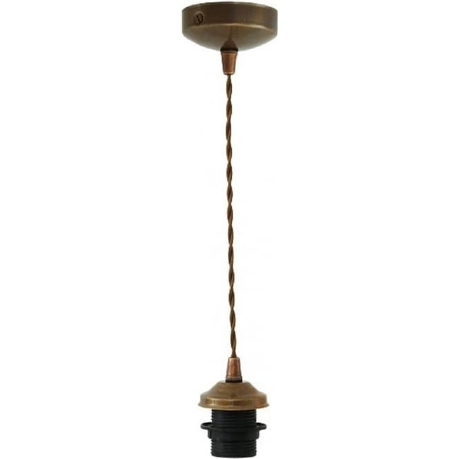 pendant suspension in antique brass with brown braided cable. Black Bedroom Furniture Sets. Home Design Ideas