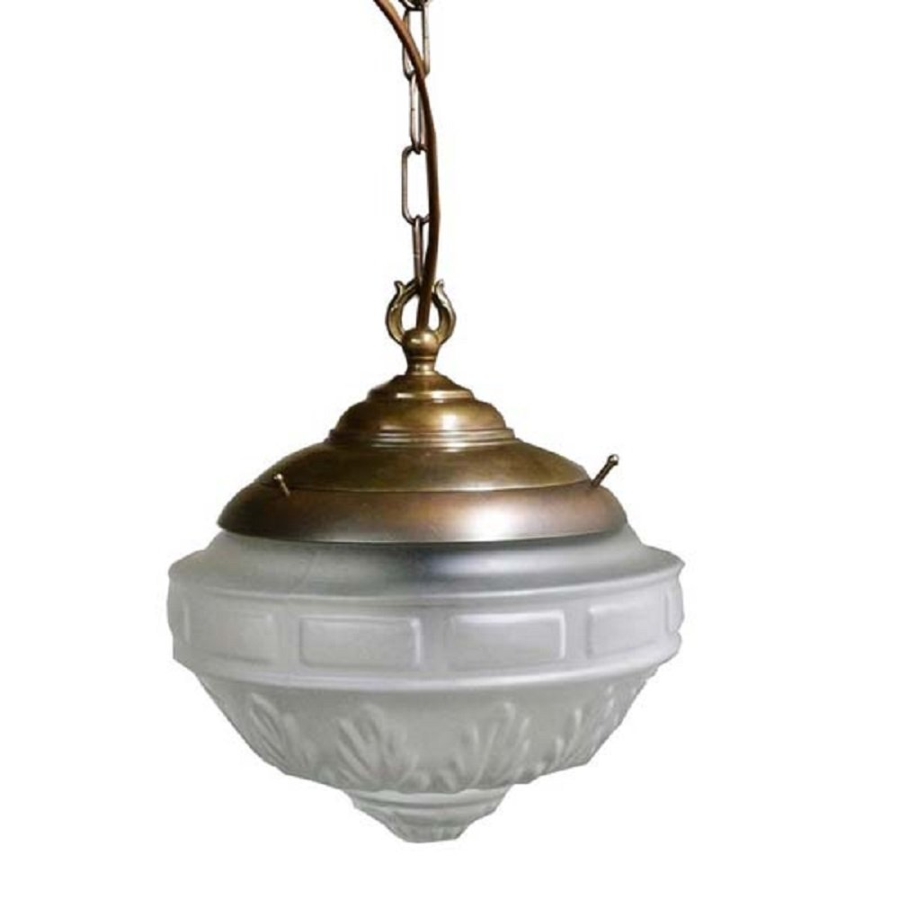 Character Victorian Hall Ceiling Light Antique Frame With Frosted Glass