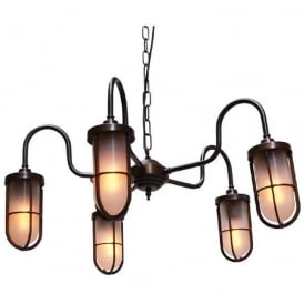 DUNE industrial design 5 arm ceiling light in antique brass with frosted well glass shades