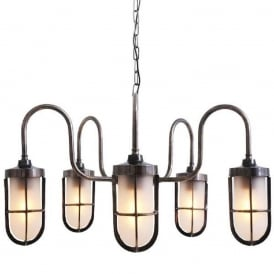 DUNE industrial design 5 arm ceiling light in antique silver with frosted well glass shades