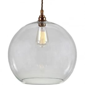 EDEN clear glass sphere ceiling pendant on antique brass fitting - large