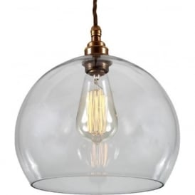 EDEN clear glass sphere ceiling pendant on antique brass fitting - medium