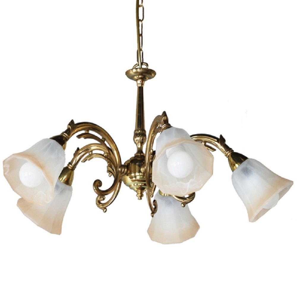 5 Arm Gold Polished Brass Ceiling Light With Two Tone Glass Shades